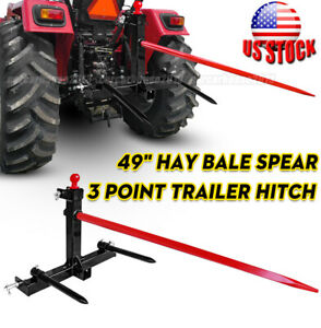 1 Tractors 3 Point Trailer Hitch Quick Attach Bale Spear 49 Hay Bale Spear
