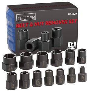 13p Bolt And Nut Extractor Set Impact Wrench Tools Remover Damaged Rusted Socket