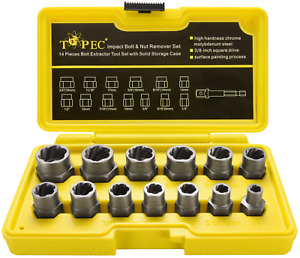 Topec Impact Bolt Nut Remover Set 13 Pieces Nut Extractor Socket Bolt Tool