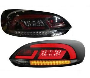 Black Smoked Finish Led Tail Rear Lightbar Lights For Vw Scirocco 08 14