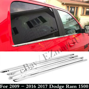Chrome Window Sills For 2009 2017 Dodge Ram 1500 Mega crew Cab Overlays Trims 4x