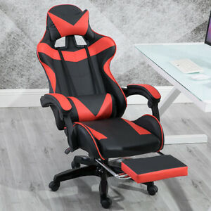 Gaming Chair Racing Seat Swivel Footrest Ergonomic Recliner Office Computer Desk