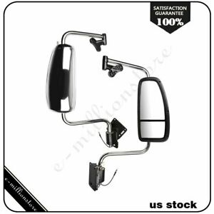 Pair Chrome Truck Mirrors Complete For 1997 2010 International Harvester Lh rh