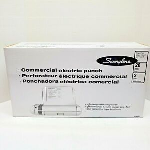 Swingline 74532 28 sheet Commercial Electric Two hole Punch Fixed 1 4 inch Hole