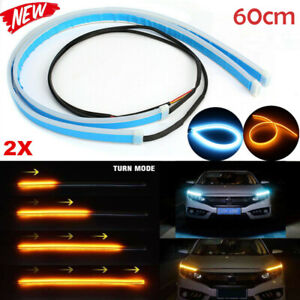 2x 60cm Led Drl Daytime Running Strip Light Sequential Turn Signal Blue Amber