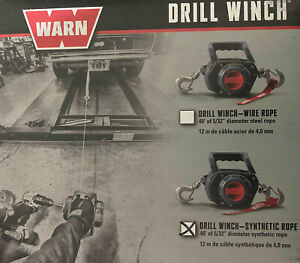 Warn 101575 Handheld Portable Drill Winch With 40 Foot Synthetic Rope 750 Lb Pu