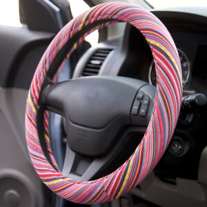 Saddle Blanket Hippie Style Woven Colorful Steering Wheel Cover Universal Fit