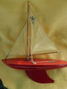 Star Yacht Y2 Wooden Sailboat With Stand Vintage Made In England Birkenhead