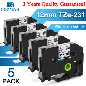 5 Pk Compatible Label Maker Tape 12mm For Brother P touch Tz 231 Tze 231 Pt d210