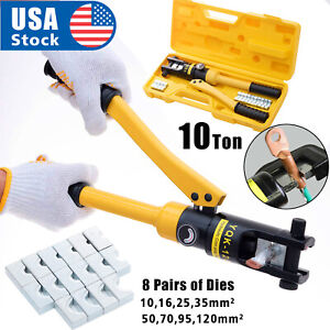 10 Ton Hydraulic Wire Crimper Battery Cable Lug Terminal Crimping Tool W 8 Die