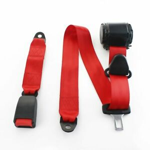 1pc Fits Nissan 3 point fixed Cars 3pt Harness Safety Seat Belt Red Universal