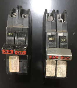 2 30 Amp Double Pole Federal Pacific Stab Lok Breakers