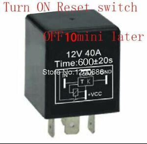 30a 10 Minutes Timer Relay Delay Off After Reset Switch Turn On Automotive 12v