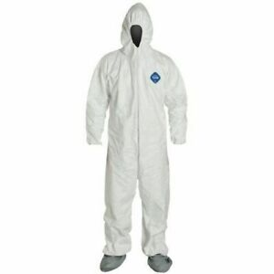 Dupont Ty122s Tyvek Coverall Elastic Wrists ankles With Hood Boots Size Md 5x