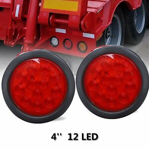 2x 12 Led 4 Round Truck Trailer Rv Brake Stop Turn Tail Rubber Light Red