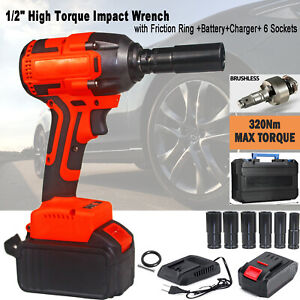 Cordless 1 2 Drive Impact Wrench Gun Electric High Torque Wrench Friction Ring