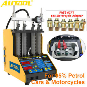 4 Cylinders Ultrasonic Fuel Injector Cleaner Flow Leak Tester 6pc Motor Adapter
