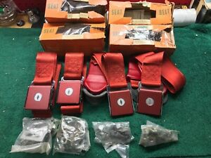 1964 Chevrolet Nos Set Of Red Seat Belts Impala Corvette 985840 985845 Accessory