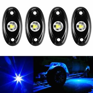 4x Blue Led Rock Lamps W 4pods Lights For Jeep Off Road Truck Car Atv Under Body
