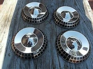 Nos Four Dodge Poverty Dog Dish Hubcaps 1959 Police Muscle Hot Rod Custom Sled