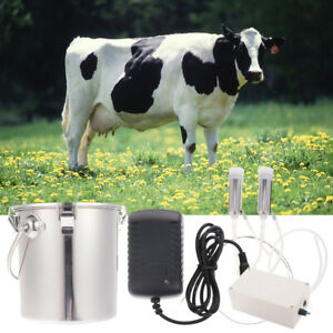 Portable Electric Milking Machine Set Farm Cow W 5l Stainless Steel Bucket Us