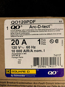 Square D Qo120pdf 1 Pole 20 A Arc d tect Combo Arc fault Ground New In Box