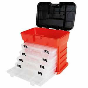 Storage And Toolbox Durable Organizer Utility Box With 4 Unitts Red