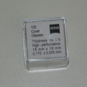 Zeiss Microscope Slide Cover Glass 18 Mm X 18 Mm 100