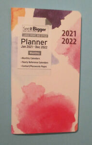 2021 2022 Pink Rainbow See it bigger 7x4 Monthly Planner Pocket Contacts Plan