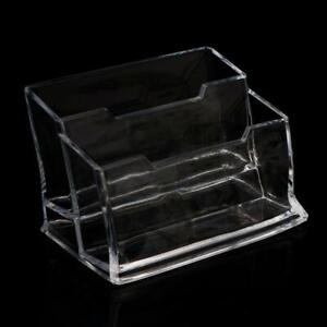 Acrylic Plastic Clear Business Card Holder Display Stand Rack Desktop Office