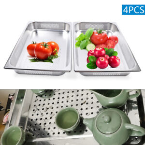 2 5 Deep Stainless Steel Food Veg Fruit Pans Perforated Steam Table Pans 4 Pack