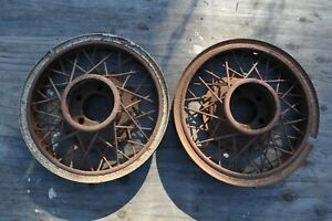 1920 S 1930 S Antique Vintage Classic Automobile Wire Wheel Pair 18 Budd