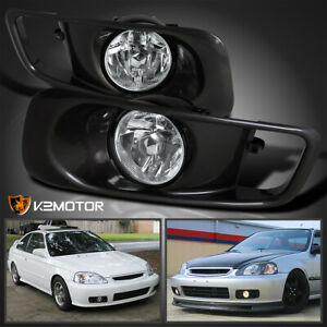 For 1999 2000 Honda Civic Si Clear Driving Fog Lights Bumper Lamps switch L r