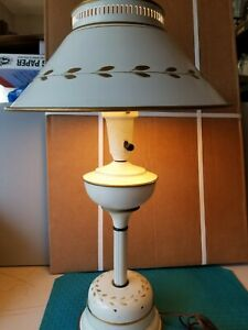 White Gold Hand Painted Toleware Metal Brass Torchier W Shade Table Lamp