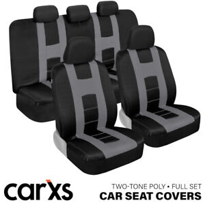 Silver Gray Car Seat Covers Full Set Front And Rear Bench For Auto Truck Suv
