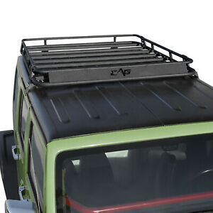 Fit For 07 18 Jeep Wrangler Jk Roof Rack Cargo Basket W Wind Deflector