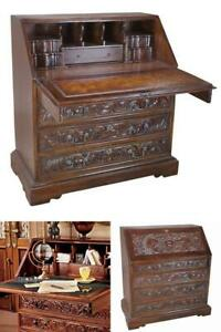 Assembled Carved Solid Wood Secretary Desk Mid 19th Century Replica Mahogany New