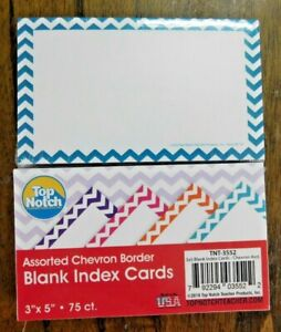 Top Notch Teacher Products Border Index Cards 3x5 Blank Chevron 150 Count