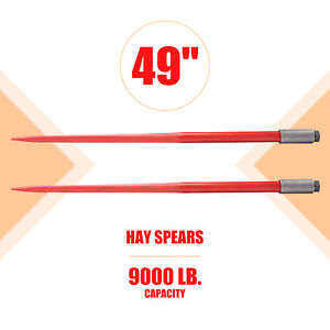 Two 49i Hay Bale Spikes 4500lb Capacity Each Quick Attach For Truck Tractor More