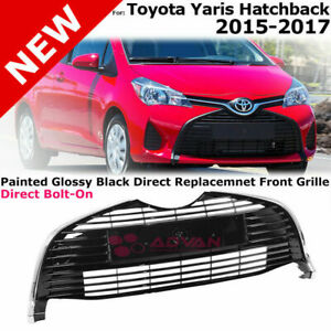 For 15 18 Toyota Yaris Hatchback Bottom Front Lower Grille Glossy Black