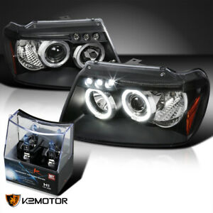 For 1999 2004 Jeep Grand Cherokee Black Led Halo Projector Headlights H1 Bulbs