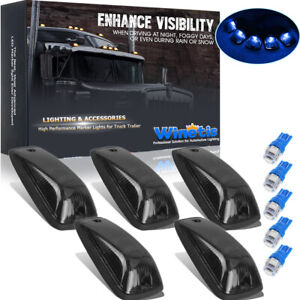 5x Roof Cab Marker Lights Smoke Cover Blue Led For Gmc Chevy C1500 C2500 C3500
