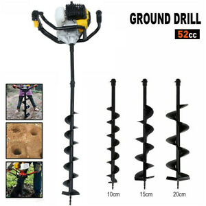 52cc Earth Auger 3hp Gas Powered One Man Post Hole Digger Machine W 3 Bits Un