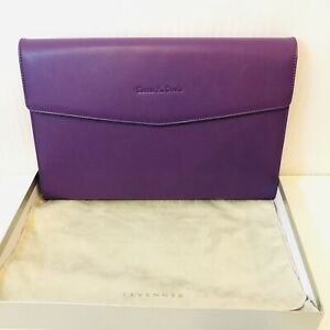 Levenger Smooth Dossier Folio Purple Note Embossed Name Susan Davis