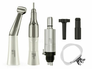 Dental Low Speed Handpiece Kit Push Button Contra Angle Straight Air Motor 2h 4h
