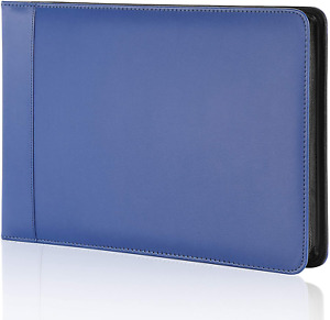 Business Check 7 Ring Checkbook Binder Pu Leather Portfolio Built In Blue