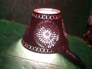 Vtg Pierced Punched Tin Lamp Shade Circle Design Sunburst 10 X 7 Oxblood Red