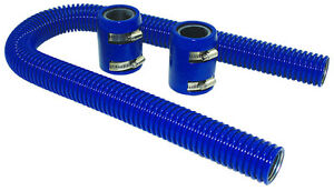 24 Blue Stainless Flexible Radiator Hose Kit W Billet Clamp Covers Chevy Ford