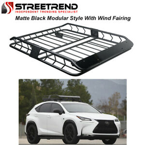 Universal Matte Blk Modular Hd Steel Roof Rack Basket Carrier With Wind Fairing