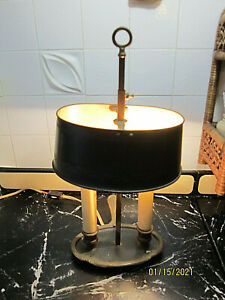 Vintage French Toleware Brass Bouillotte Desk Table Lamp With Black Shade 14